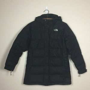 THE NORTH FACE Girls Black Hoodie Puffer Jacket XL